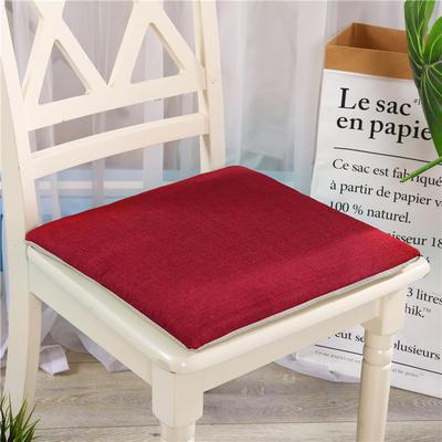 竹节麻坐垫-三角靠垫 棉麻亚麻座垫椅垫 餐椅垫学生电脑椅垫 40*40cm 酒红色