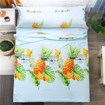 2018新款-爆款水洗棉隔脏睡袋 酒店宾馆防脏床单被套 大菠萝160*210