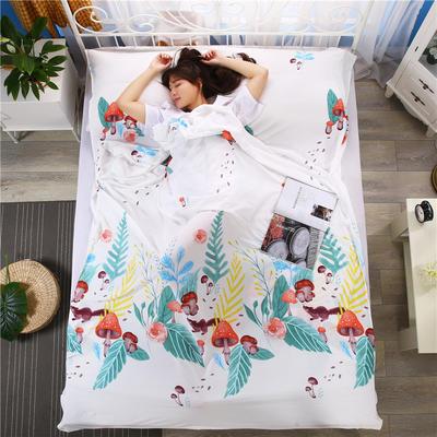 2018新款-爆款水洗棉隔脏睡袋 酒店宾馆防脏床单被套 小蘑菇160*210
