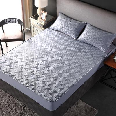 加厚水洗棉床笠 夹棉 加棉 单件床垫保护罩 秋冬保暖床罩 90*200*30 双面如意灰