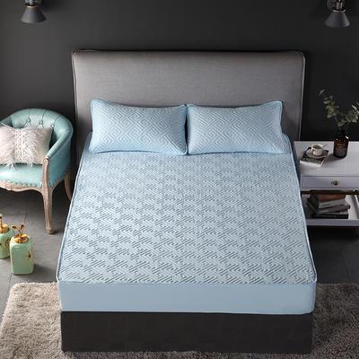 加厚水洗棉床笠 夹棉 加棉 单件床垫保护罩 秋冬保暖床罩 90*200*30 双面如意蓝