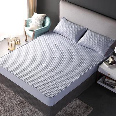 加厚水洗棉床笠 夹棉 加棉 单件床垫保护罩 秋冬保暖床罩 90*200*30 双面幸福灰