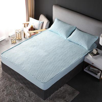 加厚水洗棉床笠 夹棉 加棉 单件床垫保护罩 秋冬保暖床罩 90*200*30 双面幸福蓝