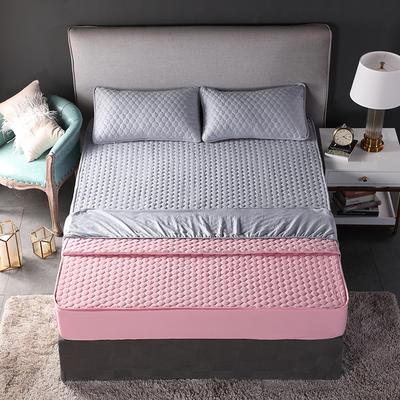 2018新款加厚水洗棉床笠-单品-夹棉枕套 单枕套加棉 48cmX74cm 双面幸福灰