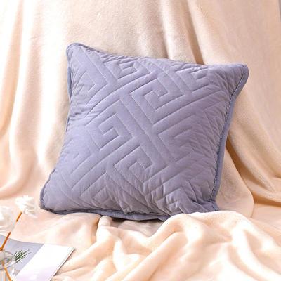 新款绗缝抱枕含芯 办公室小抱枕 赠品抱枕 沙发抱枕靠垫 40X40cm 如意灰