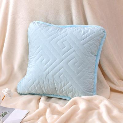新款绗缝抱枕含芯 办公室小抱枕 赠品抱枕 沙发抱枕靠垫 40X40cm 如意蓝