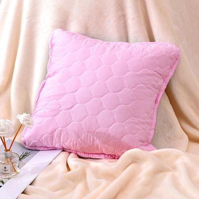新款绗缝抱枕含芯 办公室小抱枕 赠品抱枕 沙发抱枕靠垫 40X40cm 幸福粉