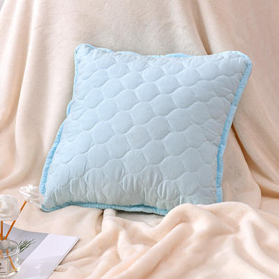 新款绗缝抱枕含芯 办公室小抱枕 赠品抱枕 沙发抱枕靠垫 40X40cm 幸福蓝