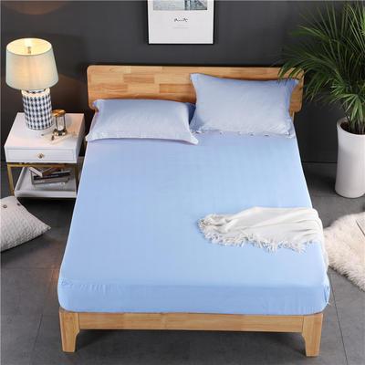 磨毛提花床笠 单件改良床单 水洗棉加厚床罩 床单保护罩 90*200*30 初恋蓝