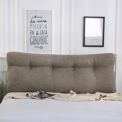 2018新款-曲线床头靠垫 棉麻三角大靠垫双人长靠背可拆洗 60*50*15 浅咖