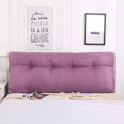 2018新款-曲线床头靠垫 棉麻三角大靠垫双人长靠背可拆洗 60*50*15 熏衣紫