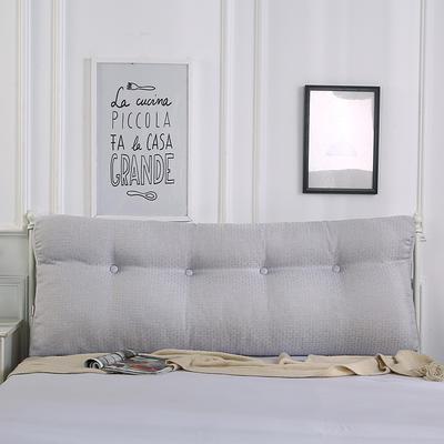 2018新款-曲线床头靠垫 棉麻三角大靠垫双人长靠背可拆洗 60*50*15 银灰