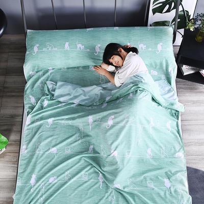 2019新款-  隔脏睡袋宾馆酒店旅行成人睡袋 出游旅游床单 喵趣160*210