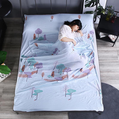 2019新款-  隔脏睡袋宾馆酒店旅行成人睡袋 出游旅游床单 小河弯弯160*210