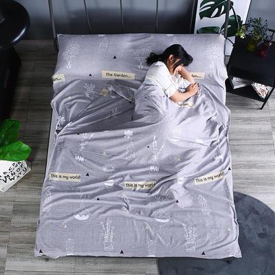 2019新款-  隔脏睡袋宾馆酒店旅行成人睡袋 出游旅游床单 花园180*210