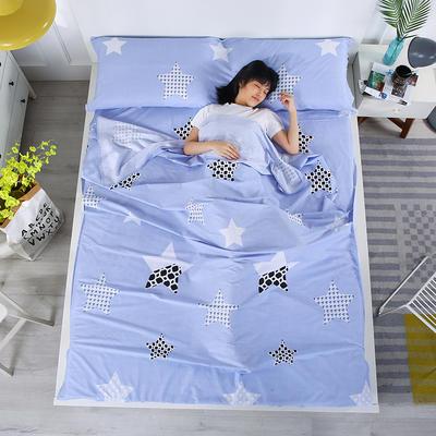 2019新款-全棉旅行隔脏睡袋 宾馆酒店旅游成人睡袋 晴空180*210