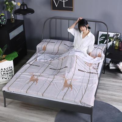 2019新款-水洗棉旅行隔脏睡袋 宾馆酒店便携式成人睡袋 吉祥120*210