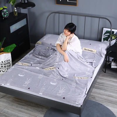 2019新款-水洗棉旅行隔脏睡袋 宾馆酒店便携式成人睡袋 花园160*210