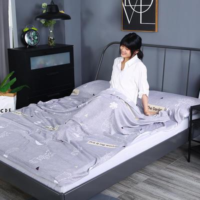 2019新款-水洗棉旅行隔脏睡袋 宾馆酒店便携式成人睡袋 花园180*210
