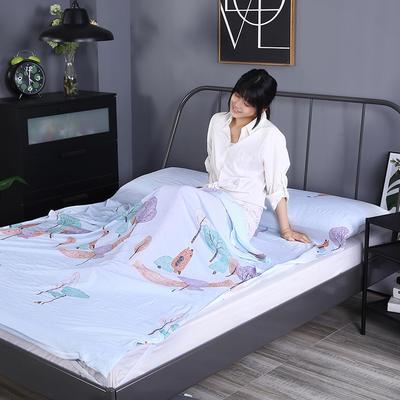 2019新款-水洗棉旅行隔脏睡袋 宾馆酒店便携式成人睡袋 小河弯弯180*210