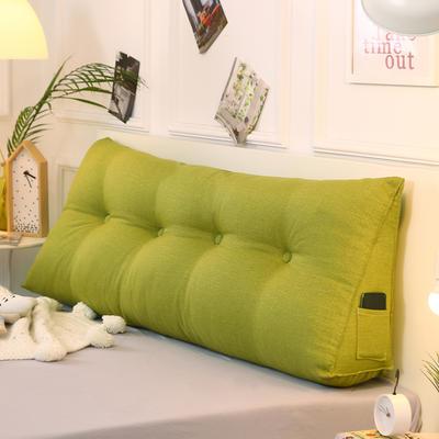 2019新款-棉麻三角靠枕 床头靠垫大号 软包床上靠垫抱枕可拆洗 90*45*20 草绿三角