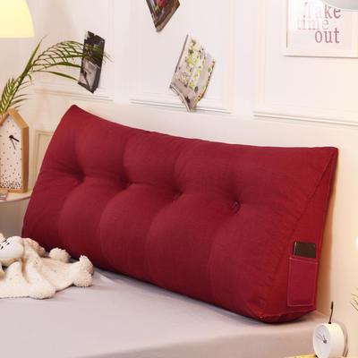 2019新款-棉麻三角靠枕 床头靠垫大号 软包床上靠垫抱枕可拆洗 90*45*20 酒红三角