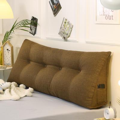 2019新款-棉麻三角靠枕 床头靠垫大号 软包床上靠垫抱枕可拆洗 90*45*20 咖啡三角
