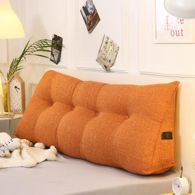 2019新款-棉麻三角靠枕 床头靠垫大号 软包床上靠垫抱枕可拆洗 90*45*20 蜜桔三角