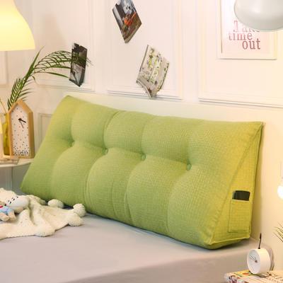 2019新款-棉麻三角靠枕 床头靠垫大号 软包床上靠垫抱枕可拆洗 90*45*20 嫩绿三角