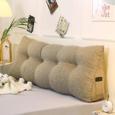 2019新款-棉麻三角靠枕 床头靠垫大号 软包床上靠垫抱枕可拆洗 90*45*20 浅咖三角