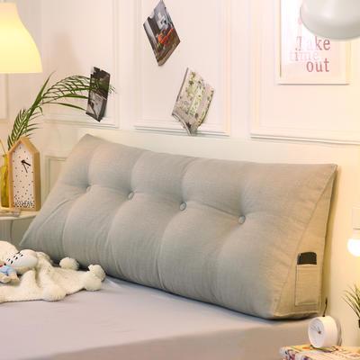 2019新款-棉麻三角靠枕 床头靠垫大号 软包床上靠垫抱枕可拆洗 90*45*20 浅灰三角