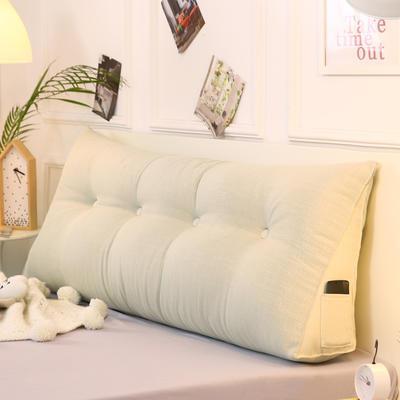 2019新款-棉麻三角靠枕 床头靠垫大号 软包床上靠垫抱枕可拆洗 90*45*20 象牙三角