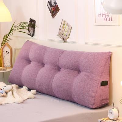 2019新款-棉麻三角靠枕 床头靠垫大号 软包床上靠垫抱枕可拆洗 90*45*20 熏衣紫三角