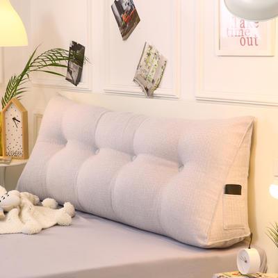 2019新款-棉麻三角靠枕 床头靠垫大号 软包床上靠垫抱枕可拆洗 90*45*20 银灰三角