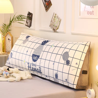 2019新款-水晶绒印花三角靠垫 床头大靠背可拆洗 床上靠垫抱枕 50*45*20 白菠萝