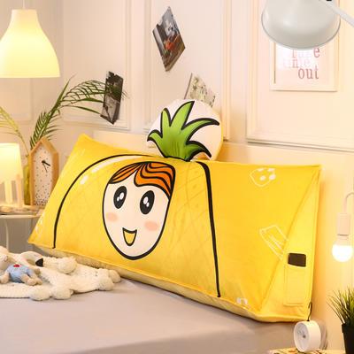 2019新款-水晶绒印花三角靠垫 床头大靠背可拆洗 床上靠垫抱枕 50*45*20 黄菠萝