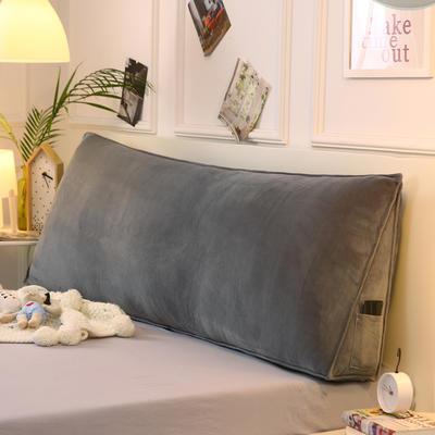 2019新款-水晶绒印花三角靠垫 床头大靠背可拆洗 床上靠垫抱枕 50*45*20 灰色