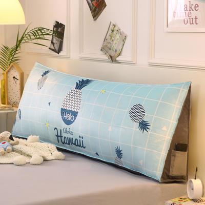 2019新款-水晶绒印花三角靠垫 床头大靠背可拆洗 床上靠垫抱枕 50*45*20 蓝菠萝