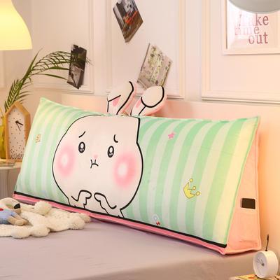2019新款-水晶绒印花三角靠垫 床头大靠背可拆洗 床上靠垫抱枕 50*45*20 绿兔