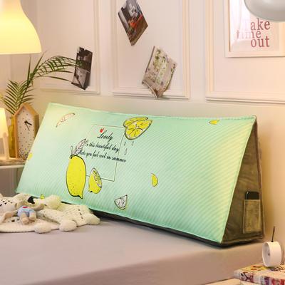 2019新款-水晶绒印花三角靠垫 床头大靠背可拆洗 床上靠垫抱枕 50*45*20 柠檬一夏