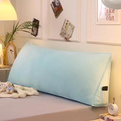 2019新款-水晶绒印花三角靠垫 床头大靠背可拆洗 床上靠垫抱枕 50*45*20 浅蓝