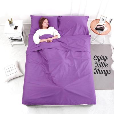 2020新款-13372全棉旅行睡袋 成人酒店宾馆隔脏睡袋 全棉 紫色180*210