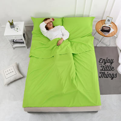 2020新款-磨毛隔脏睡袋 爆款跑量酒店宾馆旅游旅行睡袋 磨毛 果绿180*210