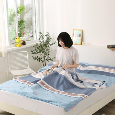 2020新款全棉隔脏睡袋 酒店宾馆旅游成人旅行睡袋 160*210甜蜜星空-兰