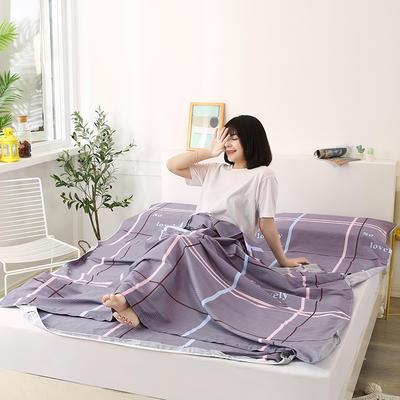 2020新款全棉隔脏睡袋 酒店宾馆旅游成人旅行睡袋 180*210爱情如诗-豆沙