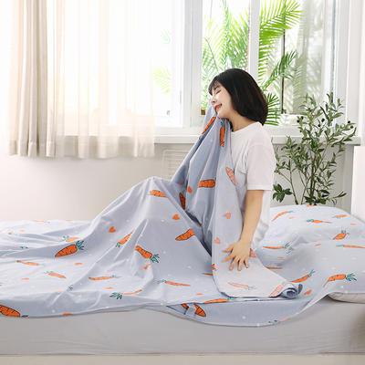 2020新款全棉隔脏睡袋 酒店宾馆旅游成人旅行睡袋 180*210可爱萝卜-灰
