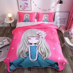 2018新品水晶绒大版卡通床盖,床盖三件套 枕套74*47*2 百合姑娘