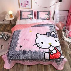 2018新品水晶绒大版卡通床盖,床盖三件套 枕套74*47*2 豹纹kt