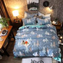 2018新款磨毛加绒四件套棉加绒四件套水晶绒 1.8m-2.0m床单款 圣诞树
