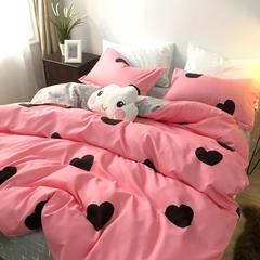 磨毛植物羊绒棉四件套硬纸板包装实拍图 1.5m(5英尺)床 小心心粉